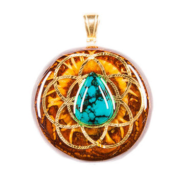 Round Turquoise w/ Seed of Life (Mini) w/ 24K Gold Om Third Eye Pinecone Talisman Necklace