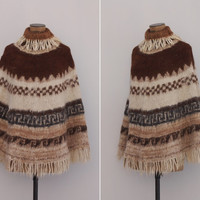 Andean Song Poncho - Vintage 1970s Alpaca Wool Poncho Sweater - 70s Cream Wool Fringe Hippie Boho Poncho