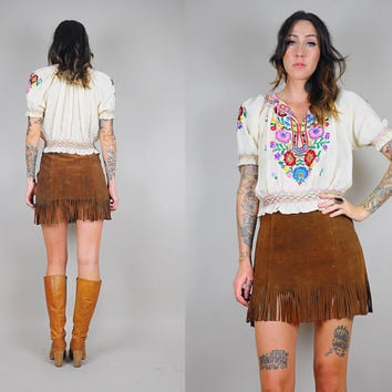 SALE 70's FRINGE suede mini skirt
