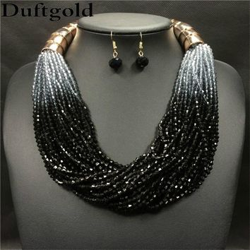 New Item!!   Women's Gradient Color Beaded Necklace and Earrings Set.    In Colors:  Black, Sapphire Blue, Yellow, Orange, Red, Fuchsia and Light Blue.   ***FREE SHIPPING***