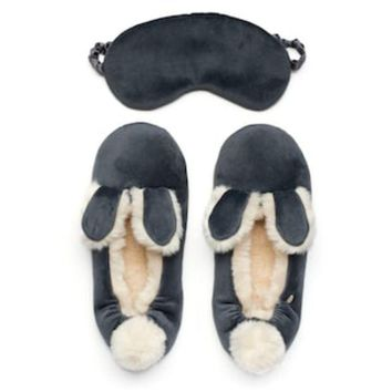 ONETOW LC Lauren Conrad Velour Bunny Ear Ballet Slippers with Sleep Mask | null