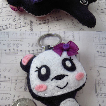 Panda Ear Bud Holder, Kawaii Panda, Felt Stuffed Panda, Panda Key Chain, Made To Order