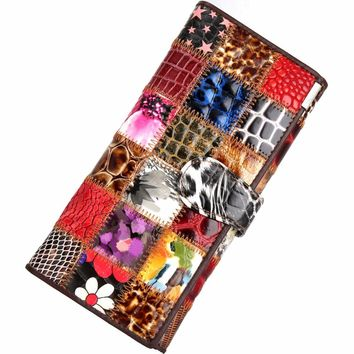 Baellerry 3 Fold Fashion Genuine Leather Women Wallets Patchwork Hasp Coin Pocket Purse Female Clutch Bag Lady Money Clip
