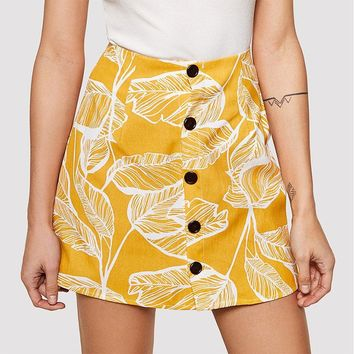 Leaf It To Me Button Up Skirt