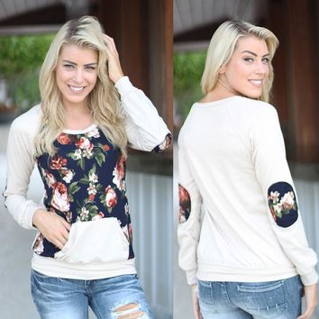 2017Women's Autumn Cotton Long Sleeve Pullover Top Floral Print Pocket Loose Casual Outwear Blouse Top Hoodie Shirt Ropa Mujer