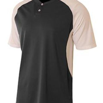 A4 - Youth Performance Contrast 2 Button Baseball Henley T-Shirt