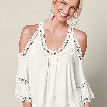 Off White Multi Cold Shoulder Lace Trim Top from VENUS