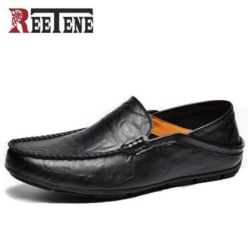 REETENE Fashion Casual Driving Shoes Genuine Leather Loafers Men Shoes 2017 New Men Lo