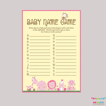 Girl Safari Baby Shower Baby Name Game - Baby Name Race Game - Printable Download - A to Z Baby Game Pink Safari Baby Shower Game - BS0001-P