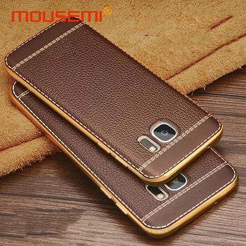 Litchi Grain Phone Cases For Samsung Galaxy S6 S7 edge Case Luxury Plating TPU Cover For Samsung Galaxy S8 Plus Note 3 4 5 Case
