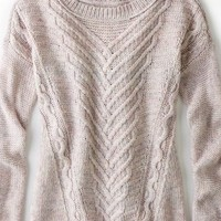AEO Women's Soft Cable Sweater (Pink)