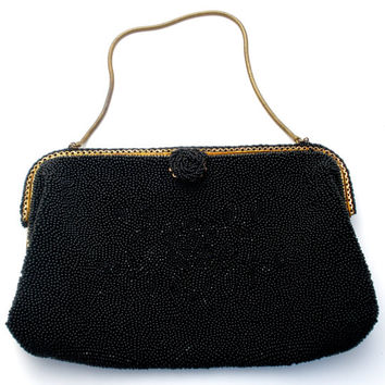 Black Purse, French Hand Bag, Glass Beads, Designer Caron, Silk Lining Brass Frame, Handmade Beaded, Vintage Fashion, Bridal Wedding, Handle