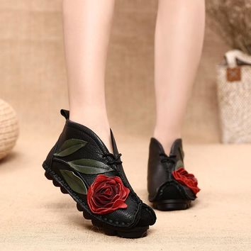 Hand Made Genuine Leather Flower Soft Comfortable Casual Flats Shoes