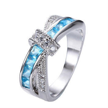 Crossed Design Aquamarine Sapphire Women Finger Ring White Gold Filled Jewelry Vintage Engagement Wedding Rings For Women RW0744