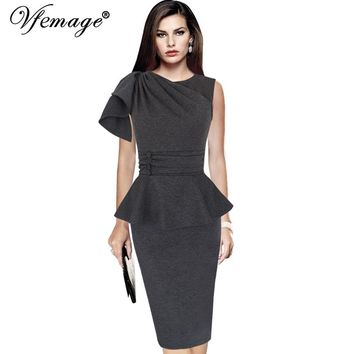 Vfemage Women Elegant Ruffles Sleeveless Ruched Button Peplum Formal Work Business Prom Cocktail Party Bodycon Sheath Dress 8890