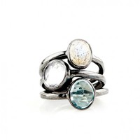 Labradorite, Blue, and Clear Quartz Stacking Ring Set