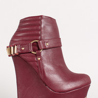 Metallic Embellished Harness Quilted Wedge Ankle Bootie