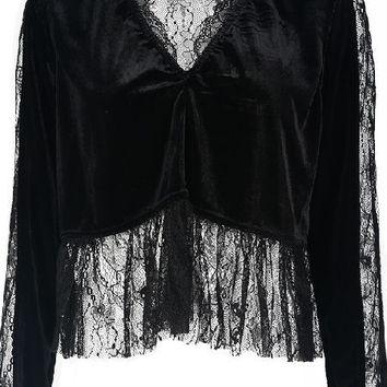 Black Velvet Crop Top & Lace Inserts Back and Front
