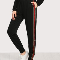 Button And Striped Side Sweatpants