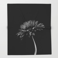 Daisy gerbera. Black and white Throw Blanket by vanessagf