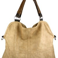 MG Collection Everyday Faux Ostrich Purse Shoulder Bag, Beige, One Size