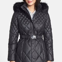 Women's GUESS Faux Fur Trim Diamond Quilted