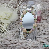 iphone case, i phone 4 4s 5 case, cute iphone4 iphone4s 5 case,stylish plastic rubber cases cover, Artificial Swarovski Crystal mirror