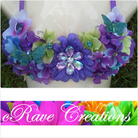 Beautiful Blue, Green, and Purple Custom Bra