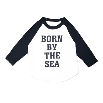 Kid's 'Born by the Sea' Baseball Raglan Tee