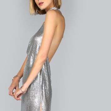 Disco Babe Silver Mesh Mini Dress