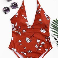 Floral Print Plunge Halter One Piece Swimsuit