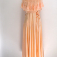 peach maxi dress - 70s vintage lace pastel pink long sleeveless bridesmaid dress - hippie boho - spring summer