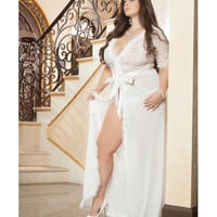Glam Night Lace Robe W-fur & Sheer Mesh Ivory 1x-2x