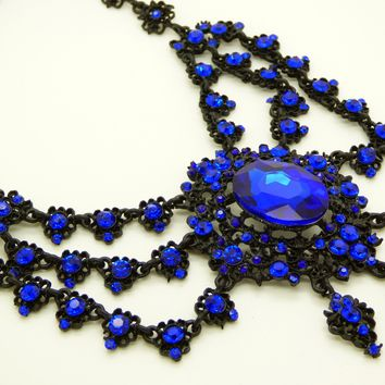 Cobalt Blue Rhinestone Black Gun Metal Statement Lavalier Necklace
