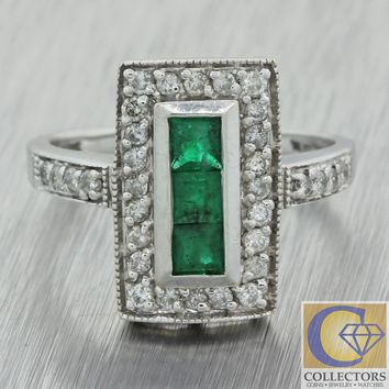 Vintage Estate Art Deco Style Diamond Emerald Rectangle Cocktail Ring