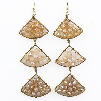 Love Triangle Bead Dangle Earrings