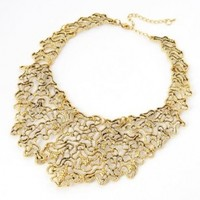 Vintage Golden Tone Chain Jewelry Hollow Floral Adorned Pendant Necklace
