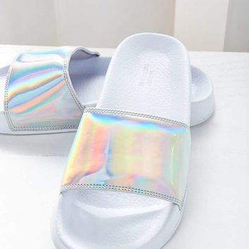 UO Holographic Pool Slide - Urban Outfitters