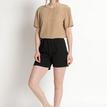 Vintage 70s Black Stretchy Normcore Uniform Short Shorts | M