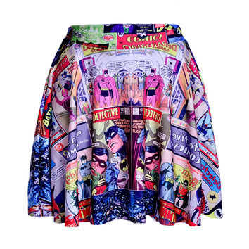 Hipsterme Skirts 2016 Plus Size Sexy Women's Summer The batman comic Skirts 3D Digital Printing Skirts