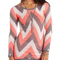 Long Sleeve Chevron Tunic Sweater by Charlotte Russe - Lt Gray Combo