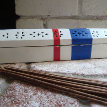 Nautical White, Blue, Red Incense Burner, Box, Coffin, Coastal Collection, Incense Cone Holder, Beach Cottage Decor, Red White and Blue