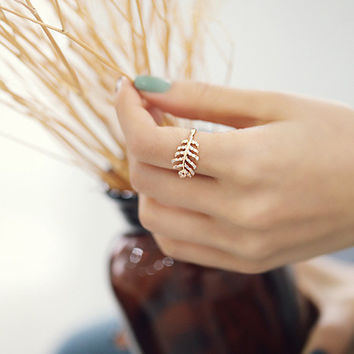 Stylish Shiny New Arrival Gift Jewelry 925 Silver Feather Decoration Simple Design Korean Accessory Ring [7652917255]