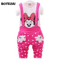 2017 New Autumn Baby Girls Clothes Set Minnie Toddler Girl Clothing Set Long Sleeve T shirt + Overalls Kids Girl Clothes Autumn