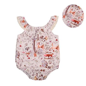 Summer Floral Newborn Baby Girl Clothes Deer Floral Sleeveless Romper Sunsuit Outfits HOT