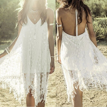 Boho Women Sleeveless Backless V Neck Lace Crochet Halter Beach Sundress Dress