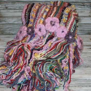 Unique Knitted Blanket Fringe Blanket Large Throw Handmade Afghan Stripe Scrap Blanket Crochet Flower Embellished Mothers Day Gift Idea