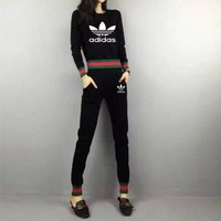 """Adidas"" Women Casual Letter Multicolor Stripe Long Sleeve Trousers Set Two-Piece Sportswear"
