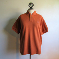 80s Piqué Cotton Polo Shirt Vintage North Country Eaton Burnt Orange 1980s Casual Sporty Short Sleeve Mens Shirt Small