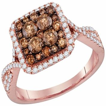 14kt Rose Gold Women's Round Brown Diamond Square Cluster Bridal Wedding Engagement Ring 1.00 Cttw - FREE Shipping (USA/CAN)